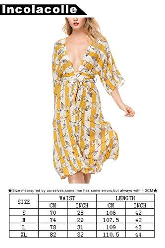 Robe Profonde V Cou Robe De Plage Boho Floral Maxi Chffion Femmes Incolacolle