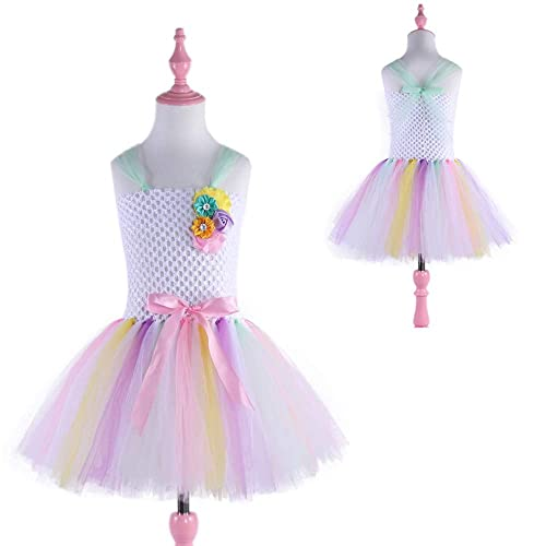 93d8656347cd Amazon.com: Pastel Rainbow Flower Girls Tutu Dress for Wedding Princess Baby  Birthday Party Unicorn Dress Costume: Handmade