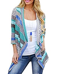 Women's 3/4 Sleeve Sweaters Cardigans Striped Printed...