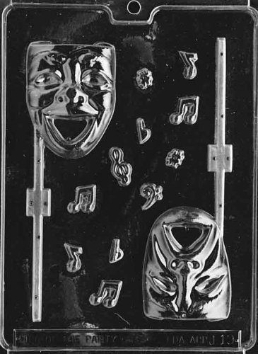 Cybrtrayd Life of the Party J019 Comedy and Tragedy Mask Lolly Chocolate Candy Mold in Sealed Protective Poly Bag Imprinted with Copyrighted Cybrtrayd Molding Instructions]()