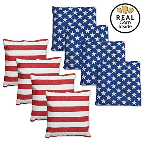 Corn Filled Cornhole Bags - Set of 8 Bright American Flag Bean Bags for Corn Hole Game - Regulation Size & Weight - 4 Stars and 4 - 8 Team Bags