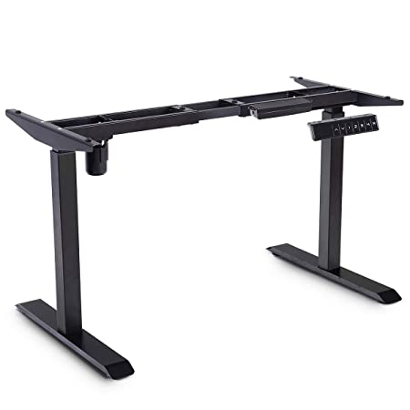 Toolsempire Single Motor Electric Height Adjustable Standing Desk Frame Sit to Stand Table Base Ergonomic Stand up Riser with Memory Controller Black