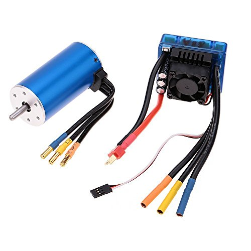 Nimh Battery Hi Power (FastWin 3670 2150KV 4P Sensorless Brushless Motor with 80A Brushless ESC(Electric Speed Controller)for 1/8 1/10 RC Auto Car Truck (3670 2150KV+80A))