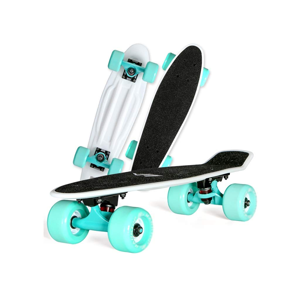 HXGL-Skateboards Small Fish Board Four Wheel Single Rocker Adult Children Scooter Brush Street Travel Board Skateboard Pro Maple (Color : Black)