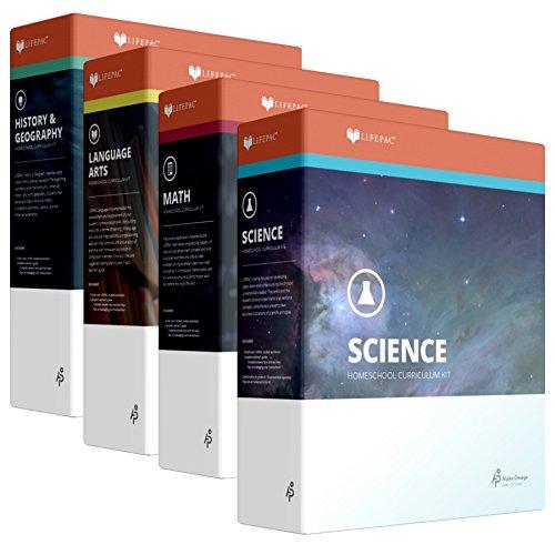 Grade 7 Christian Homeschool Curriculum 4-Subject Set +Teacher Guides Language Arts Math Science Social Studies for Homeschooling 7th Alpha Omega Lifepac