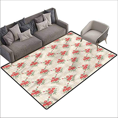 Anti-Skid Area Rug Roses,Classical Damask Retro Rose 36