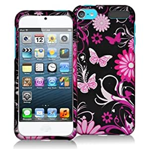 Pink Butterfly Flowers Snap-On Hard Skin Case Cover for Apple iPod Touch 5th Generation 5G 5