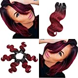 "virgin wines - BRIANA 10A 100% Unprocessed Brazilian Virgin Human Hair Extensions 4 Bundles 200g Ombre Body Wave Double Wefts Weave (10"", burgundy wine)"