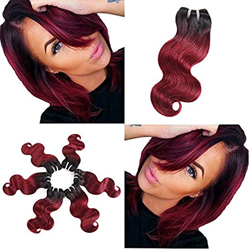 "BRIANA 10A 100% Unprocessed Brazilian Virgin Human Hair Extensions 4 Bundles 200g Ombre Body Wave Double Wefts Weave (10"", burgundy wine)"