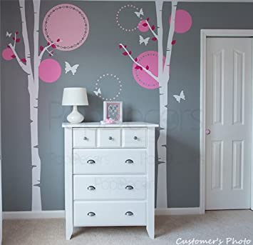 PopDecors   Nursery Trees Wall Decal Baby Girls Wall Murals Elegant Tree  Stickers Flying Butterflies Decals