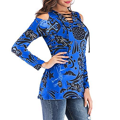 Bobolover spalla Originals Off stampato Womens T Donna V blu allentato Top a Blusa scollo Shirt lunga manica CnFCr8