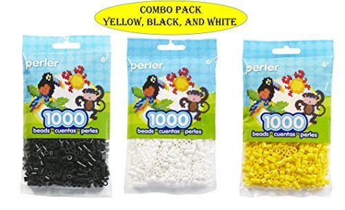 Perler Bead Bag, Yellow (Yellow-White Black)