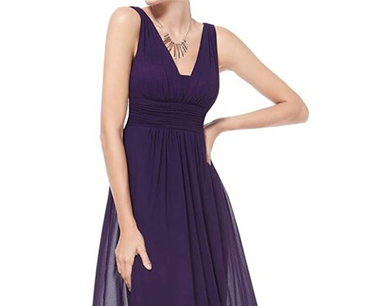 AngelDragon A-Line Straps Empire Evening Gowns Long Chiffon Formal Prom Dress