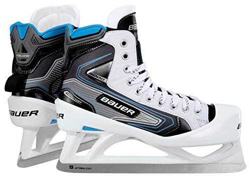 Junior Ice Hockey Goalie Skates (Bauer Junior 5000 2E1.5 Goal Skate, Black/Silver/White)