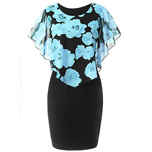 HGWXX7 Womens Fashion Plus Size Rose Print Chiffon Straight Skirt Ruffles Dress (XL, Sky Blue) Rose Print Silk Dress