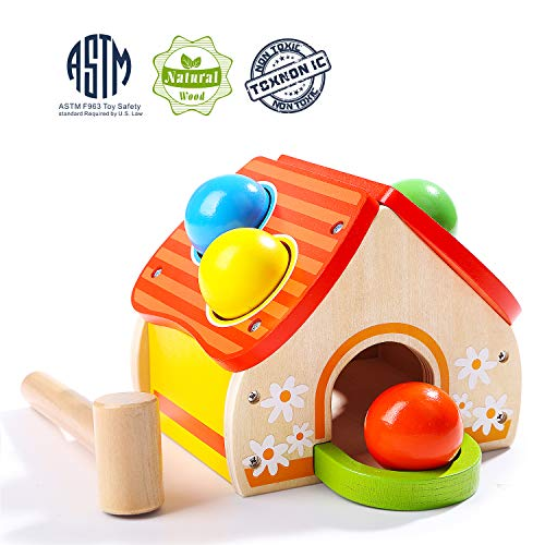 TOP BRIGHT Hammer Toy for 1 2 Year Old Boy and Girl Gifts Learning Wooden Montessori Toys for Toddlers Pounding and Color Matching Game with Ball Mallet by TOP BRIGHT (Image #7)