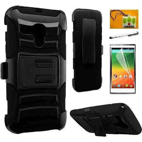Faceplate Design Blue Star - Pop Star 2 A521L / Nova LTE A520L (Straighttalk), LF 4 in 1 Bundle, Hybrid Armor Stand Case with Holster and Locking Belt Clip, Stylus Pen, Screen Protector & Wiper Accessory (Holster Black)