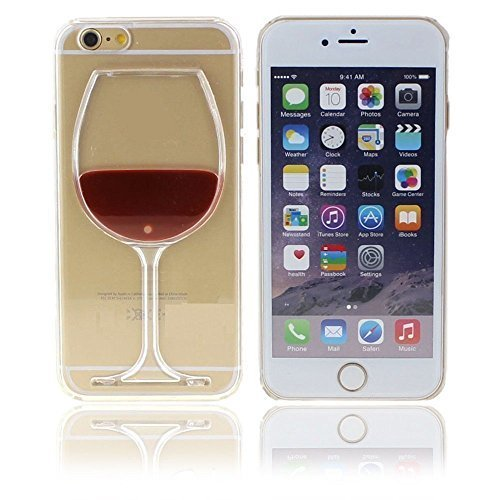 Neatday Iphone 6s Case,Cute and Lovely Red Wine Glass 3d Creative Design Hard Shell Liquid Flowing Dual Layer Hybrid Bumper Double Protection Clear Hard Back Case Cover For Iphone 6