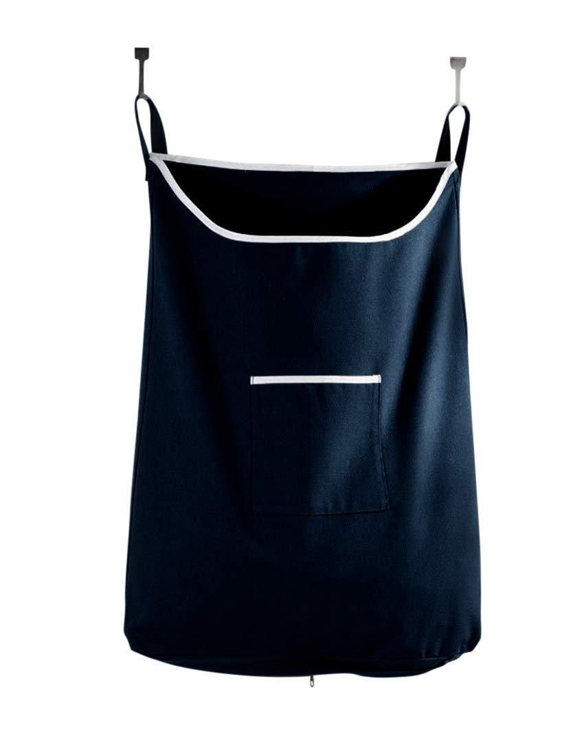 Space Saving Hanging Laundry Hamper Bag Dark Blue with Free Door Hooks - by The Fine Living Co USA