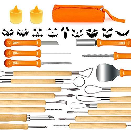 Charlemain Halloween Kit di Intaglio della Zucca, 14 Pezzi Professionale Kit di Intaglio Zucca, Coltello da Intaglio di Zucca con 2 luci a LED a Forma di Zucca, 10 stampini