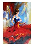 Wieco Art Flying Skirt Abstract Dancing People Oil Paintings on Canvas Wall Art work for Living Room Bedroom Home Decorations Wall Decor Large Modern Stretched and Framed Red Girl Dancer Artwork 24x36