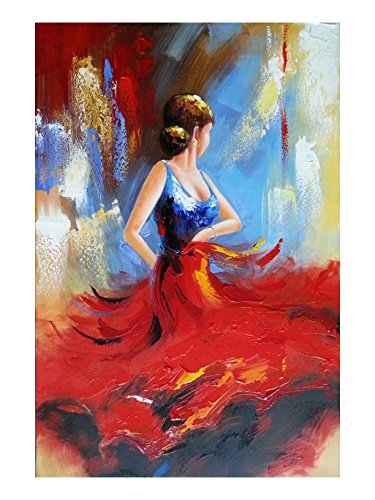Wieco Art Flying Skirt Abstract Dancing People Oil Paintings on Canvas Wall Art work for Living Room Bedroom Home Decorations Wall Decor Large Modern Stretched and Framed Red Girl Dancer Artwork 24x36 (Dali Painting Abstract)
