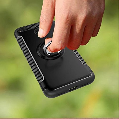 YHUISEN Redmi 4X Case, Armor Dual Layer 2 en 1 resistente a prueba de golpes caso de protección con 360 grados rotando titular del anillo de dedo y el caso del titular del coche del imán para Xiaomi R Gray