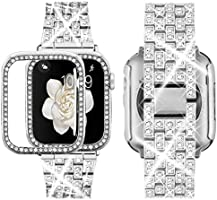 Supoix Compatible with Apple Watch Band 38mm 40mm 42mm 44mm + Case, Women Jewelry Bling Diamond Rhinestone Replacement...