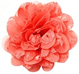 Wholesale Princess Chiffon Fabric and Lace Flower Hair Clip-Coral