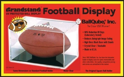 Grandstand Full Size Football Cube Display Holder - 98% UV (Autograph Football Case)