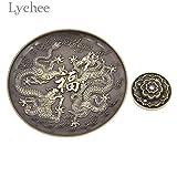 Vincent-Prestiges - Vintage Alloy Tibetan Chinese Dragon Incense Censer Lotus Incense Burner Holder Aroma Sticks Disc Home Decoration
