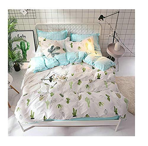KFZ Bed Set Bedding Set Duvet Cover Set Bed Flat Sheet Pillow Covers No Comforter Twin Full Queen King Sheets Set ZL Bear Bingo Apple Lavender Design 4pcs (Cactus Star, ()