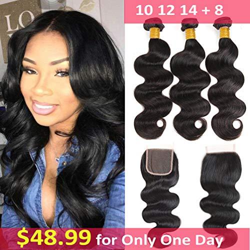 - Brazilian Virgin Hair Body Wave 3 Bundles with Closure (10 12 14 +8) 10A Grade Body Wave Bundles With Free Part Closure 100g/bundle Brazilian Hair Bundles with 4X4 Closure Unprocessed Body Wave