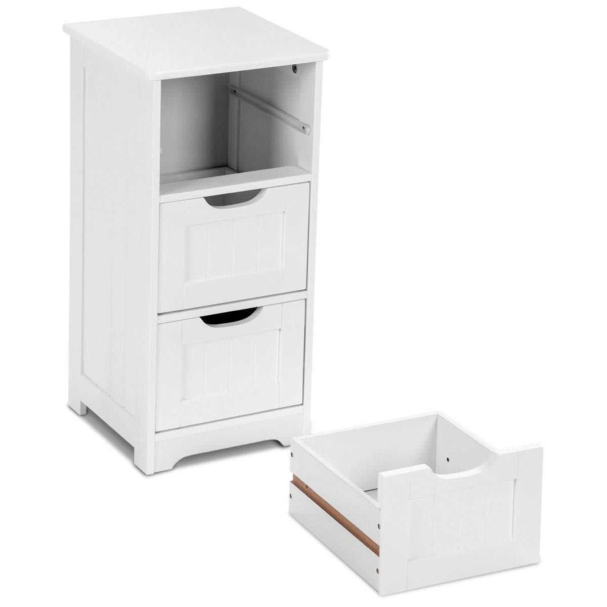 Tangkula Floor Cabinet with 3 Drawers Wooden Storage Cabinet for Home Office Living Room Bathroom Side Table Sturdy Modern Drawer Cabinet Organizer Bedroom Night Stand, White(3 Drawers) by TANGKULA (Image #8)