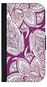 Purple Paisley- Samsung Galaxy S III-S3-Wallet Case with Flip Cover and Magnetic Clasp-Leather-Look