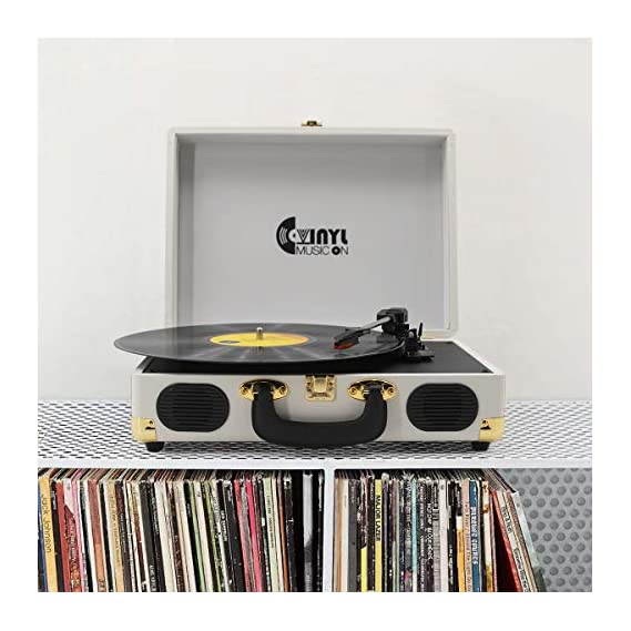 VINYL MUSIC ON Record Player, Vinyl Turntable with 2 Built-in speakers, 3-Speed Portable Vinyl LP Player, RCA Output