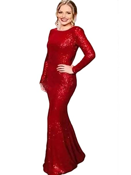 WZW 2019 Sparkly Sequins Mermaid Evening Dresses Scoop Neck ...