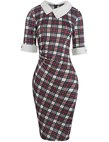 Naive Shine Women's 1/2 Sleeve Peter Pan Collar Retro Bodycon Pencil Formal Office Dress Multicolor Plaid Patchwork Size S