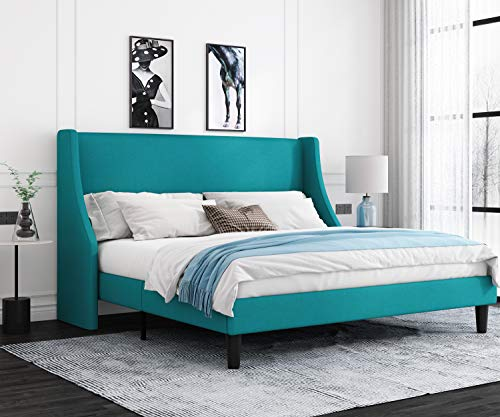 Allewie King Size Modern Platform Bed Frame with Deluxe Wingback/Upholstered Bed Frame with Headboard/Wood Slat Support…