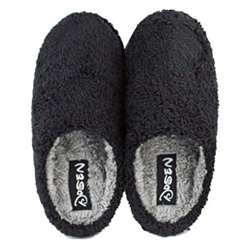 Cattior Hombres Warm Fleece House Zapatillas Fuzzy Slippers Black
