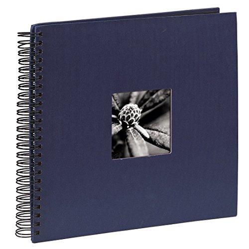 Hama Fotoalbum Fine Art, 50 schwarze Seiten (25 Blatt), Spiralalbum 36 x 32 cm, mit Ausschnitt für Bildeinschub, blau