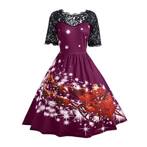 Xmansky Damen Weihnachten Drucken Spitze Nähen Swing Party Kleid ...