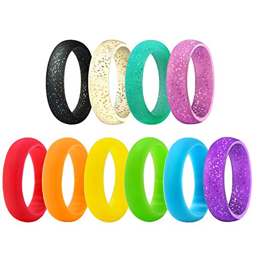 BUSHIBU Silicone Sports Ring - Fashion Durable Comfortable Antibacterial Exercise Rubber Rings Premium Medical Grade Wedding Bands for Women Kids Multicolor Styles 10Pcs