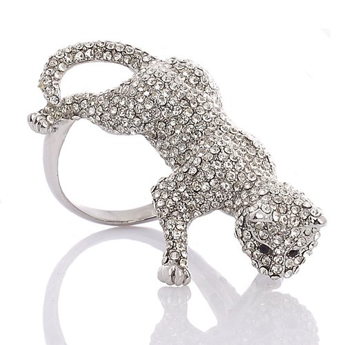 Large Stylish Panther Ring with Jet Black Swarovski Crystal Elements eyes,Luxury Haute Couture Jewellery - Silver, Janeo (Halloween Costumes With Next Day Delivery)