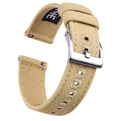18mm Canvas Quick Release Watch Band Khaki Replacement Watch Straps for Men Women (Zulu Watch Strap)