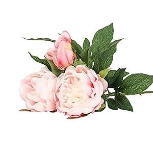 Jia Hu 1Pack Artificiales Paeonia arreglos de flores de peonía plantas de casa oficina decoración de exteriores, rosa