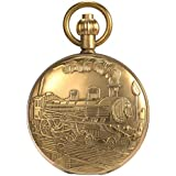 ManChDa Skeleton Pocket Watch Pure Cooper Finish Covered Horizontal Phases Moon Sun 24-Hour Coper Chain (2.Single Cover)