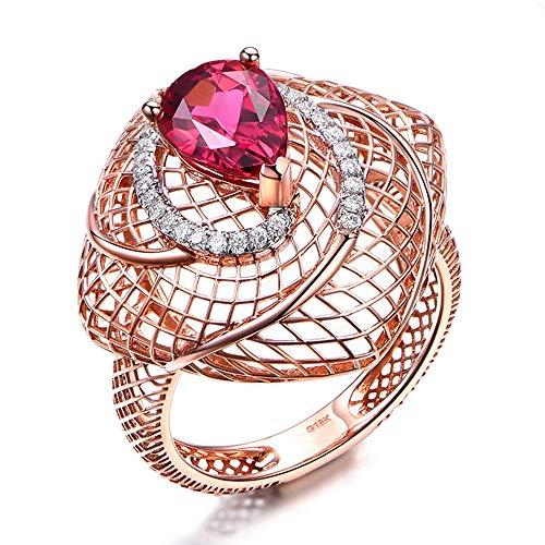 Gems.RDX Anelli in oro rosa 18 carati Retro Tormalina Rossa Diamond Statement Wedding & Engagement Jewellery Eternity - Anelli Collection