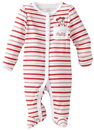 Disney Baby-Girls Newborn Minnie Mouse My First Christmas Sleep And Play Romper, White/Pink/Red, 6-9 Months