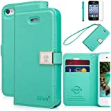 iphone 4 Case,iphone 4s case,By Ailun,Wallet Case,PU Leather Case,Credit Card Holder,Flip Cover Skin[Mint Green]with Screen Protector and Styli Pen